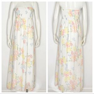Old Navy White Strapless Floral Dress Size X-Small